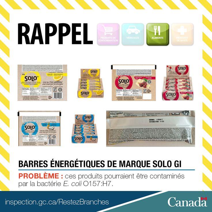 ❗ Rappel de barres énergétiques de marque SoLo GI en raison de la bactérie E. coli O157:H7 http://www.inspection.gc.ca/au-sujet-de-l-acia/salle-de-nouvelles/avis-de-rappel-d-aliments/liste-complete/2017-03-11/fra/1489283804560/1489283807818