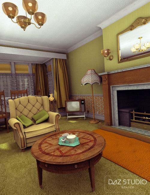 The Cosy Kitsch Living Room Props | 3D Models For Poser And Daz Studio