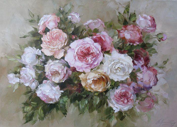 Oksana Kravchenko(b.1971) — Roses ,2011 (700×503)