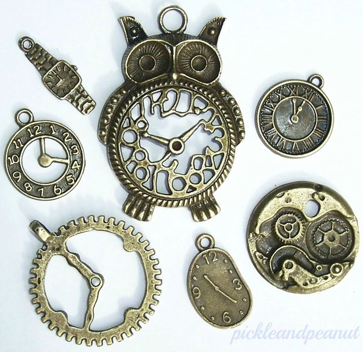 Antique Bronze Style Vintage Timepieces Owl Pendant Clock Charms Steampunk x 7 #DoesNotApply