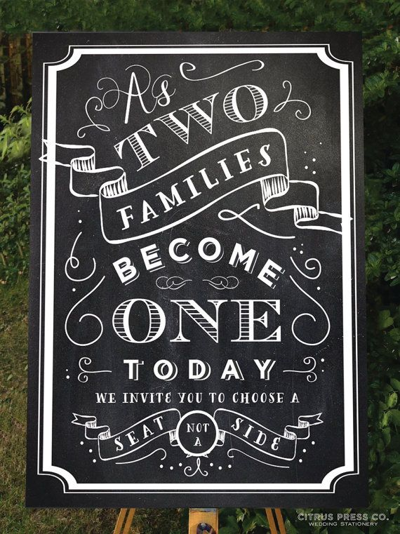 Wedding Seating Sign Chalkboard style 18x24 by CitrusPressCo