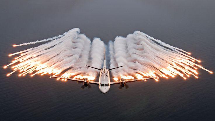 Saab 2000 AEW&C deploying flares