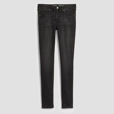 Women's Mid-Rise Skinny Jeans - Mossimo Midnight Black 2 Short