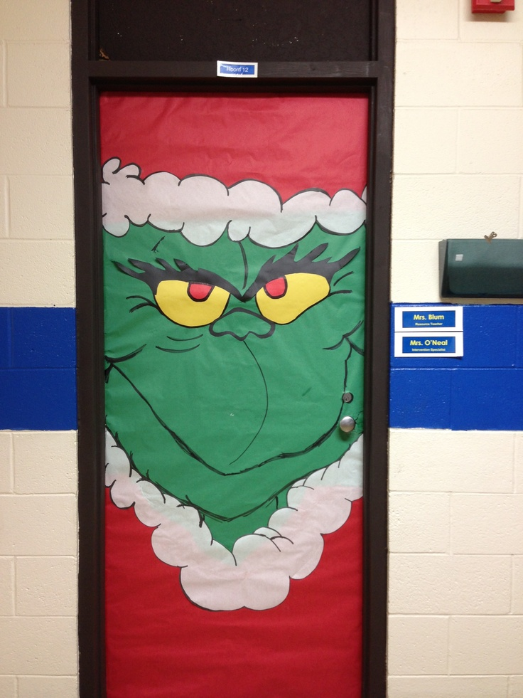 Dr suess 39 s grinch classroom door decoration bulletin for Door xmas decoration ideas