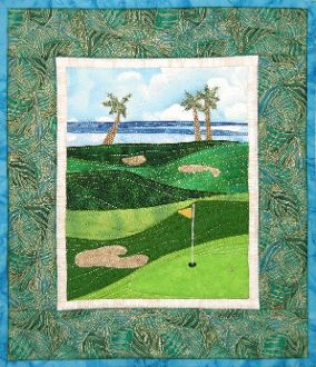 Golf Courses - Accidental Landscapes #8 by The Quilted Lizard at KayeWood.com. Create a golf course that can be anywhere in the country or world, simply by changing the collage details (add palm trees, willows, cacti or even an ocean). No two courses will be identical, but that's par for the course! http://www.kayewood.com/Golf-Courses-Accidental-Landscapes-8-by-The-Quilted-Lizard-QL-GOCO.htm $9.00