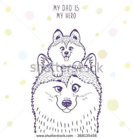 Husky dad with a cute husky kid sitting on his head. Stylish silhouettes cartoon character Husky. Holiday, fathers day. Vector illustration