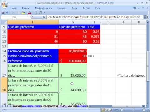 ▶ Excel Facil Truco #45: SI Anidado y Prestamos a Corto Plazo - YouTube  Bajar el libro de trabajo: http://www.excelfacil123.com.ar/  Ejemplo de SI Anidado. Como usar la funcion TEXTO, Concatenar usando el simbolo Et (&) y la funcion SI para crear titulos y formulas para calcular prestamos de corto plazo.  Twitter: http://twitter.com/ExcelFacil123 Facebook: https://www.facebook.com/pages/Excel-F%C3%A1cil/370567826406025 Excelisfun: http://www.youtube.com/user/ExcelIsFun?feature=watch