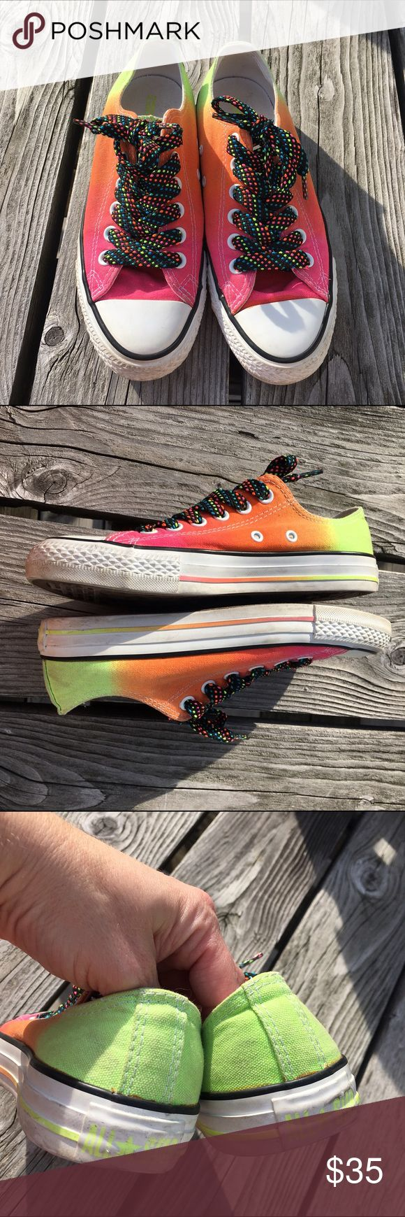 List! Ombré Neon Converse! EUC! Crazy laces make this pair a winner!  Converse Shoes Sneakers