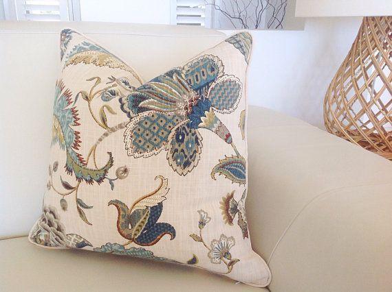 Hamptons Style Cushions Teal Floral Cushion by MyBeachsideStyle