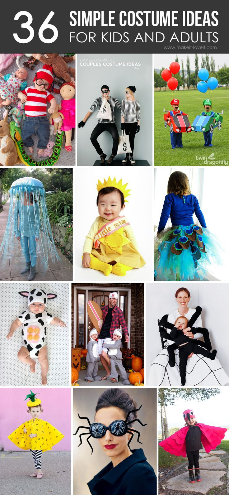 36 SIMPLE COSTUME IDEAS for Kids and Adults...just in time for Halloween | via Make It and Love It