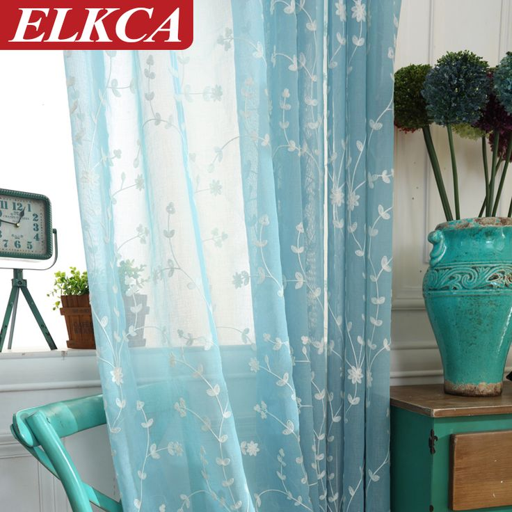 Blue Embroidered Voile Curtains for Living Room Bedroom Tulle Curtains for Kitchen Faux Linen Window Sheer Curtains for Kids
