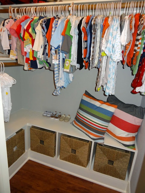 A Nice Idea For Inside A Closet Put Storage Bench In The Bottom And Add Baskets Not Just For