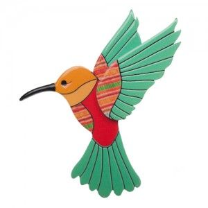 Hyacinth the Hummingbird (Emerald Resin  Brooch)