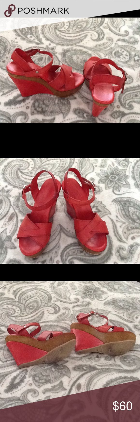 👠Price Reduction👠Red Leather Platform Sandals👠 Gently used red Italian leather with wood inlay platform sandals. Great summer sandals!  4.25 wedge with 1 inch platform heels. Wear with sun dresses or skinny jeans. Charles David Shoes Platforms