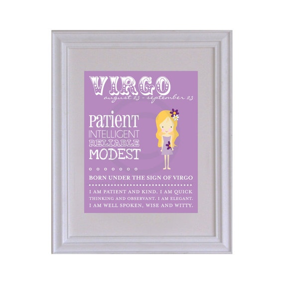 VIRGO Horoscope Nursery / Kids Room Art Print  8 x by PaperRamma