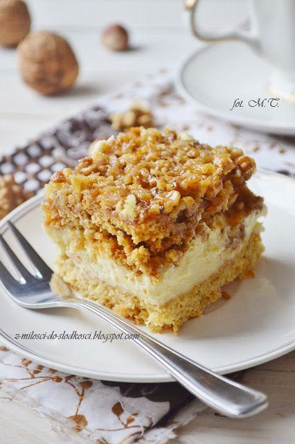 Z miłości do słodkości...: Ciasto orzechowo - budyniowe