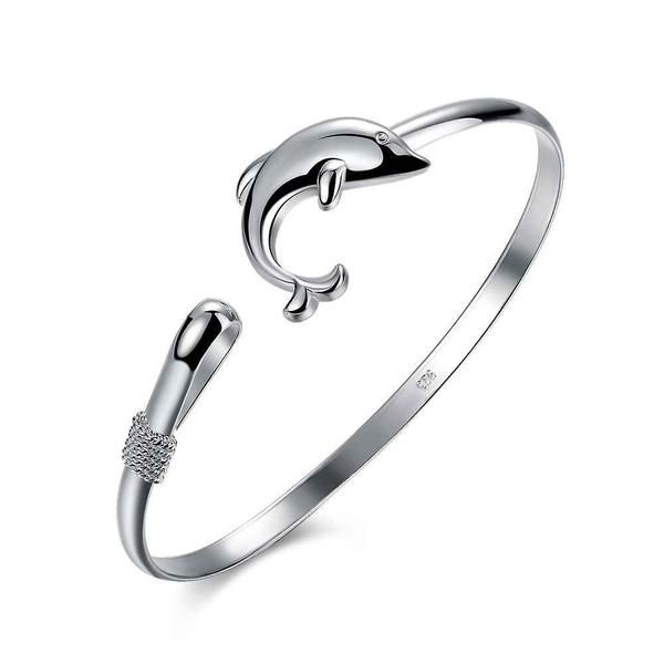 Lovely Silver Plated Dolphin Bangle