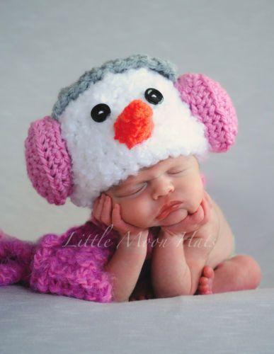 Newborn Baby Crochet Snowman with Pink Earmuffs Hat and Scarf Set Photo Prop   eBay