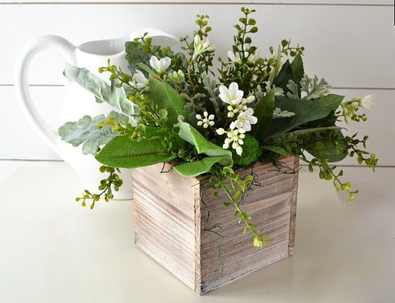 Farmhouse Centerpiece Greenery And Flowers In A Rustic Wooden Box Spring Arrangement Fixer Uppe Farmhouse Centerpiece Rustic Centerpieces Rustic Wooden Box