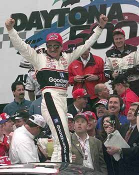 1998 - Dale Earnhardt celebrates his first Daytona 500 win.