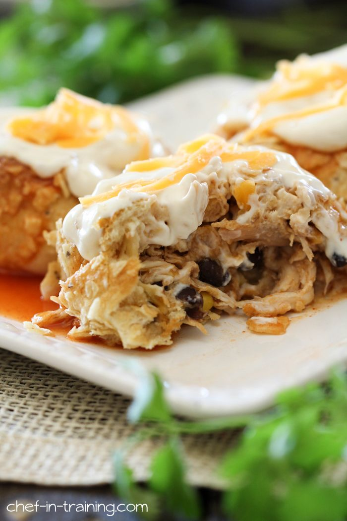 Chicken Enchilada Pillows from chef-in-training.com ...A simple and unique twist on traditional enchiladas. This recipe is so delicious and will soon become a new family favorite!