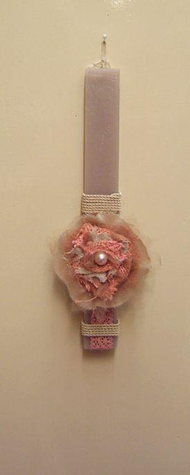 Λαμπάδα λουλούδι χειρ. κερί πλακέ ρουστίκ άρωμα