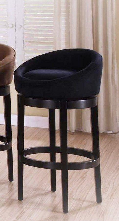 Armen Living Igloo Black Micro Fiber 26-inch Swivel Barstool - Ebony Finished Legs