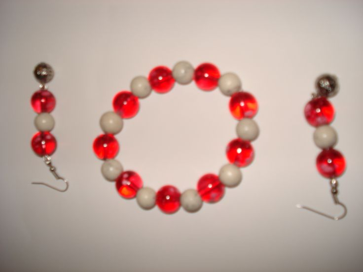 Glass Bead stretch Bracelet with Earings