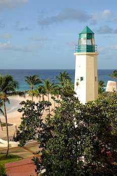 A lighthouse at the Hilton Barbados Resort, minutes from Needhams Point and George Washington House. This 4-star resort is within close proximity of Garrison Savannah and Barbados Museum and Historical Society. #barbados #resort #hilton #holiday #vacation #lighthouse #hotel   Get a beach tour along with your room too!