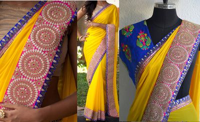 YELLOW COLOR 60GM GEORGET EMBROIDERY WORK SAREE Sarees on Shimply.com