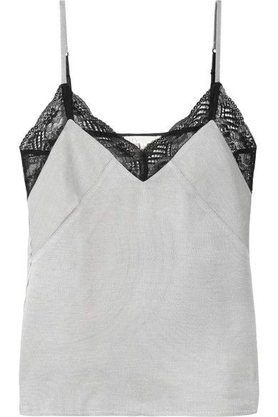 Black and white twill, black lace Slips on 58% acetate, 42% viscose; trim: 100% polyamide Dry clean Imported