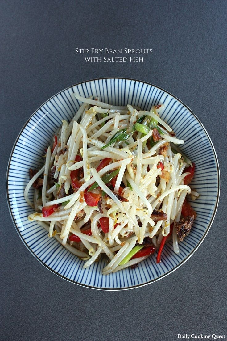 Stir Fry Bean Sprouts with Salted Fish