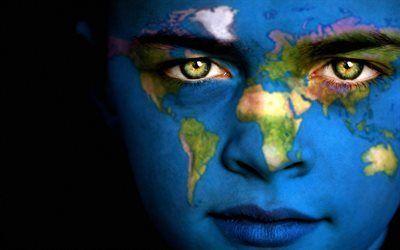 Scarica sfondi ragazza, faccia, mappa del mondo