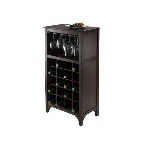 Wine Cabinet Dark Wood with Glass Rack Wine Rack Bottle Holder Storage Kitchen