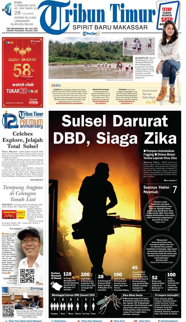 Tribun Timur edisi Rabu, 3 Februari 2016