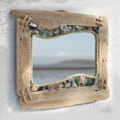 INSPIRATION: Driftwood and sea glass mirror