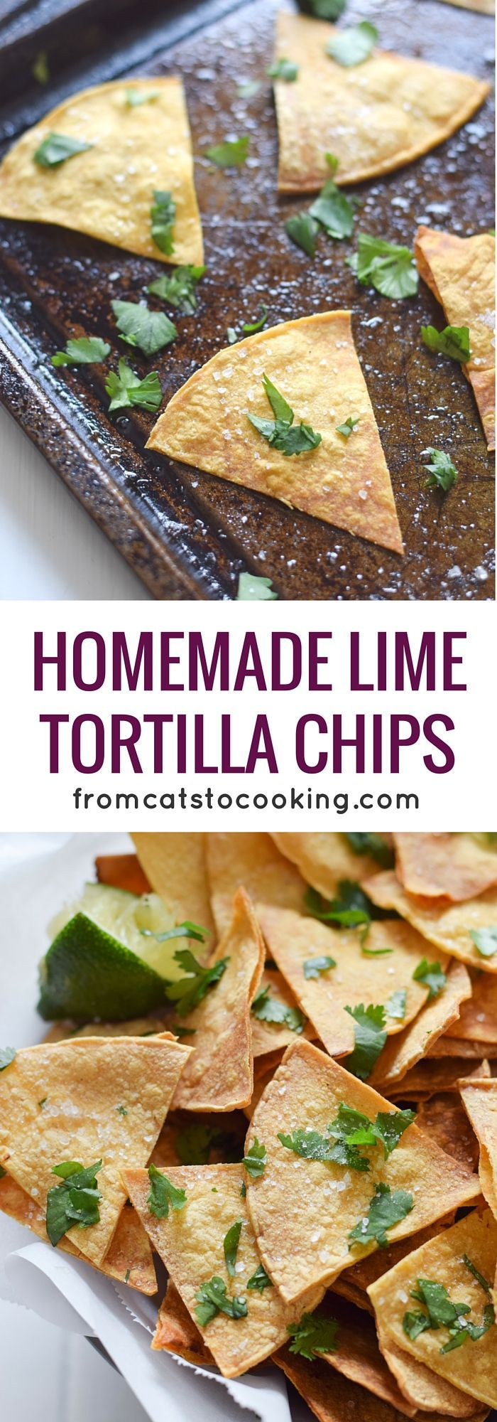 These Homemade Lime Tortilla Chips are crunchy, salty, easy to make and are baked with a hint of lime for a nice little zesty kick. They've taken my chips and salsa game to a whole new level! Perfect on their own as a snack or with some guac or salsa as a