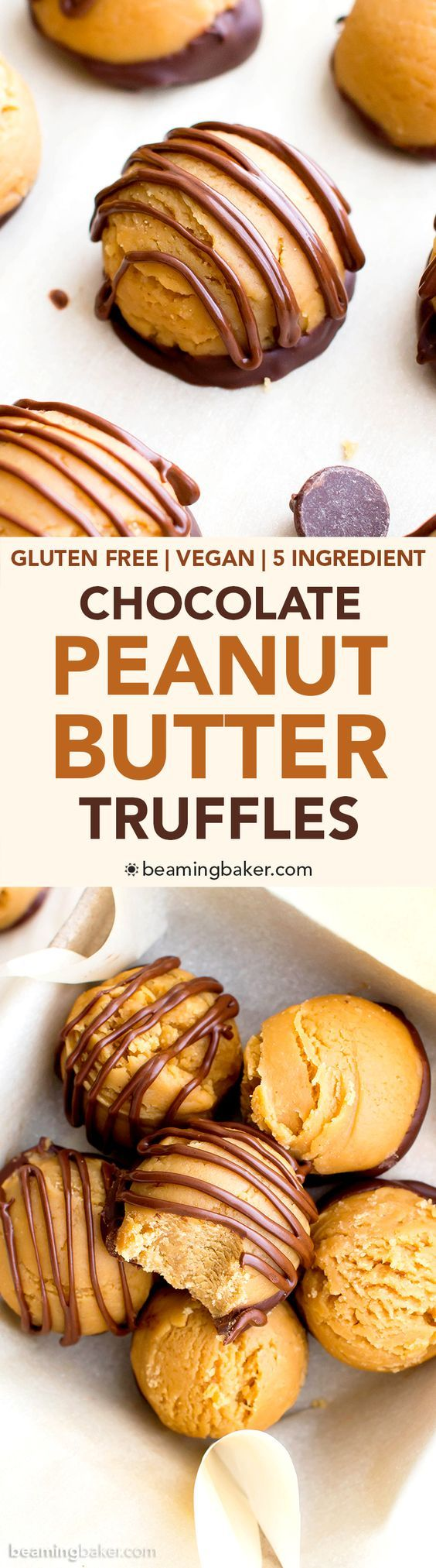 Gluten Free Vegan Chocolate Peanut Butter Truffles (V, GF, DF): an easy, 5 ingredient recipe for decadent peanut butter truffles dipped in chocolate. #Vegan #GlutenFree #DairyFree #Christmas | BeamingBaker.com