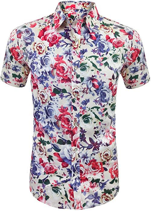 35d86183a Daupanzees Men's Hawaiian Shirts Floral Hawaiian-Print Tropical Leisure  Unisex Short Sleeve Vacation Button Down