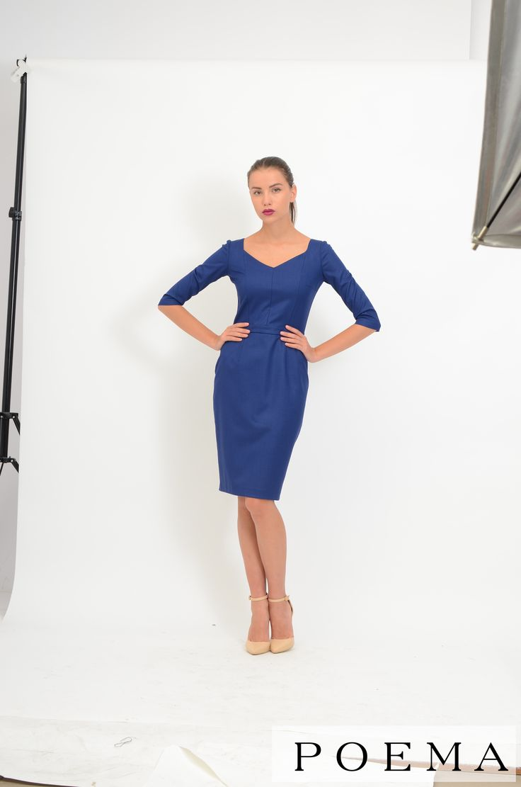 Rochie office albastra POEMA http://shop.poema.ro/poemashop