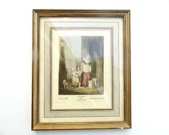 Antique Framed Print Of Engraving From Cries Of London Fresh Milk Original Old Gold Wood Frame Framed Prints Vintage Wall Art Antique Frames