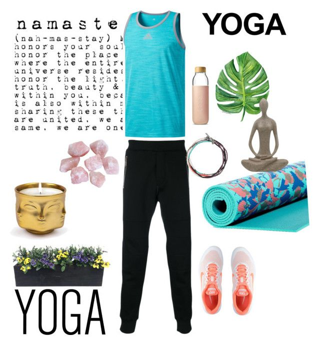 """Yoga Time!"" by guruolivella on Polyvore featuring adidas, Dsquared2, NIKE, M. Cohen, Soma, Gaiam, Jonathan Adler, men's fashion y menswear"