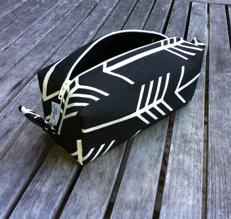 Black and White Pencil Case, Arrow Cosmetic Case, Black with White Arrows Cosmetic Pouch, School Pencil Pouch, Makeup Zipper Pouch by MyaCdesign on Etsy