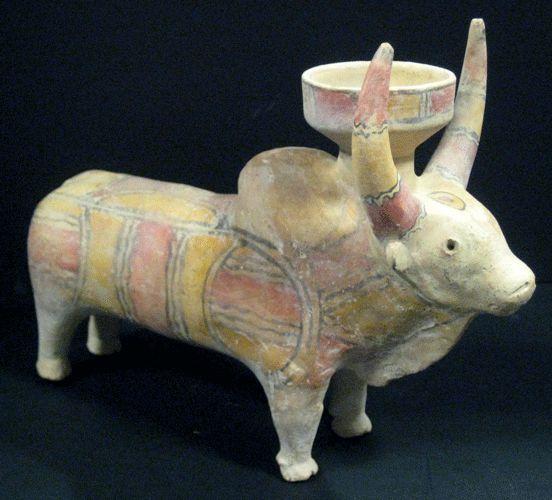 Indus Valley Slip-Painted Terracotta Sculpture Of A Zebu