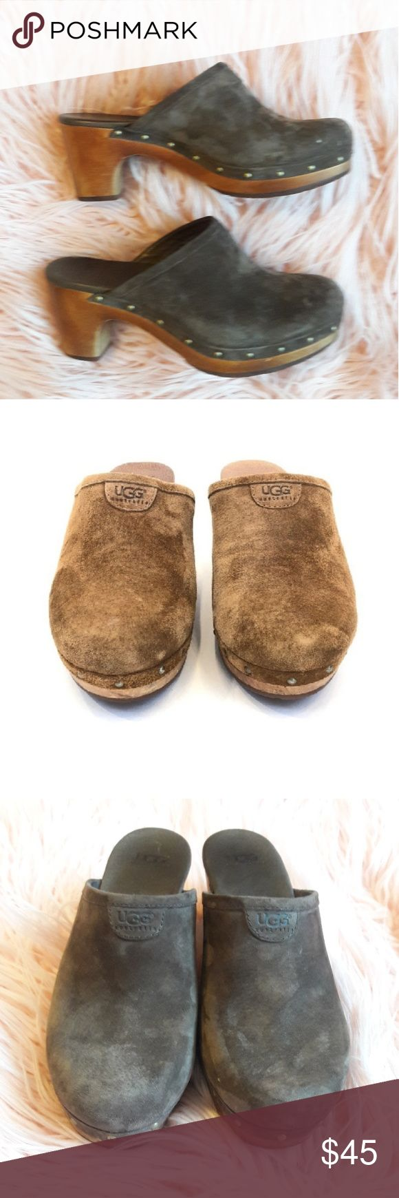 """UGG Abbie clogs dark brown suede and wood UGG Australia Abbie dark brown leather clogs with wooden heels. Barley worn but a pad has been put on the inside top for comfort (please see picture 6)  Heel height-3"""" Width-3"""" UGG Shoes"""