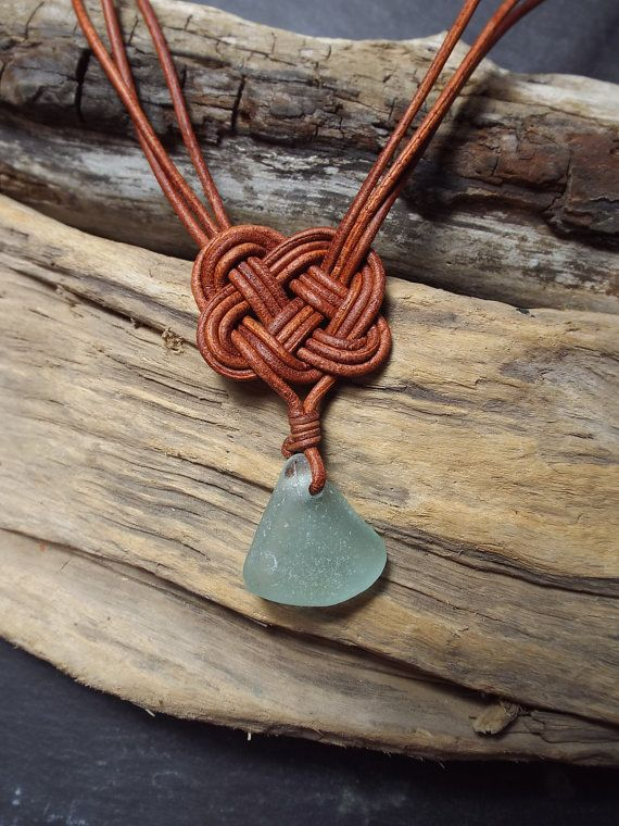 Aqua Scottish SeaGlass and  Leather Celtic Knot by byNaturesDesign, $20.00