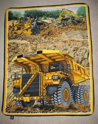 Cat Caterpillar Excavator Tractor Truck Fleece Throw