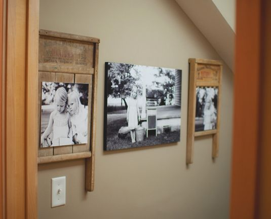 So cool! Vintage Washboards used as frames! Creative Ways to Display Photos - Amy Lockheart Crafts - Country Living #CMSmartCookie This pin is brought to you by Coffee-mate