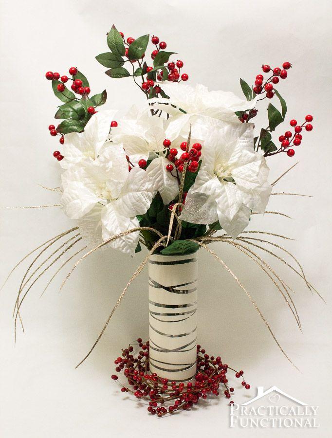 Diy elegant winter poinsettia centerpiece flower pots