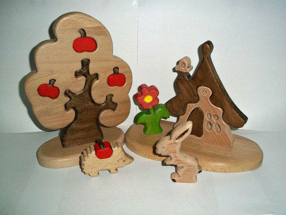 Toy 3D Wood puzzle Set of wooden puzzles by FamilyWoodenToys